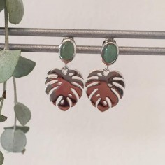 Aventurine leaves earrings silver 925