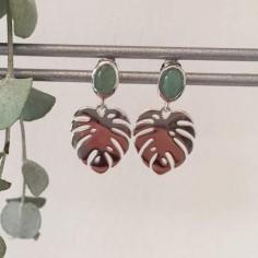 Boucles d'oreilles argent feuilles aventurine