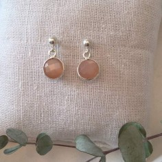Salmon pink moonstone earrings silver 925