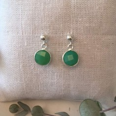 Green calcedonie earrings silver 925