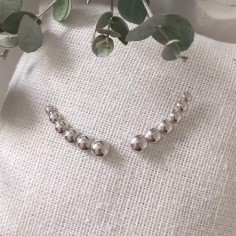 Boucles d'oreilles 6 perles argent