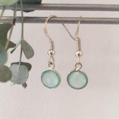 Boucles d'oreilles argent Calcédoine verte claire