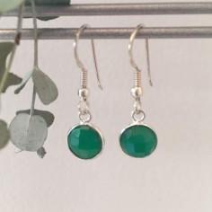 Boucles d'oreilles argent Onyx vert