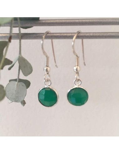Green onyx earrings silver 925