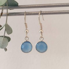 Blue calcedonie earrings silver 925