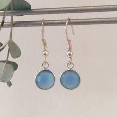 Boucles d'oreilles argent Calcédoine bleue