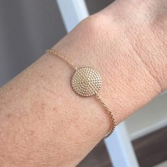 Chain bracelet gold plated beads circle
