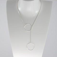 Collier chaine argent Cravate 2 Anneaux