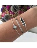 Bracelet chaine argent  triple chainettes petites hématites