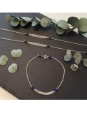 Bracelet chaine argent  triple chainettes petites pierres jade vert