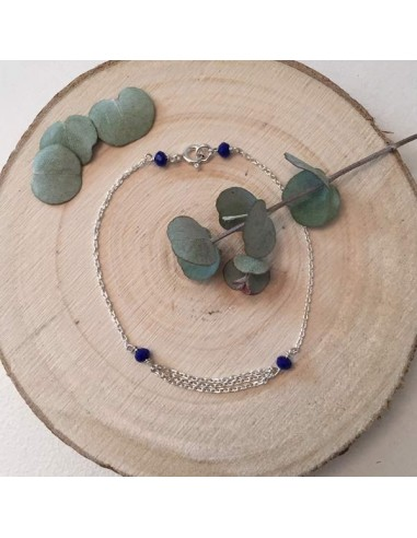 Bracelet chaine argent  triple chainettes petites pierres bleues