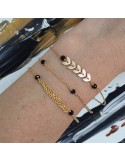 Triple chains bracelet gold plated small onyx