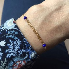 Triple chains bracelet gold plated small blue stones