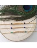 Bracelet chaine plaqué or triple chainettes petites pierres onyx