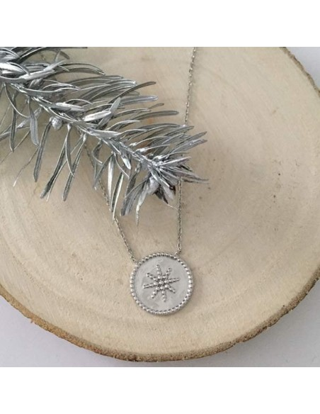 Chain necklace silver 925 beads circled star