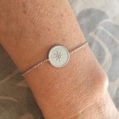 Bracelet chaine argent rond perlé étoilé