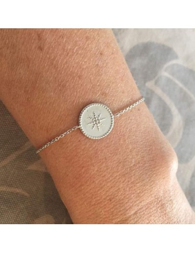 Chain bracelet silver 925 beads circled star