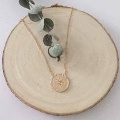 Collier chaine plaqué or rond perlé étoilé