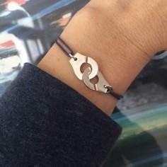 Cord bracelet silver 925 small handcuffs