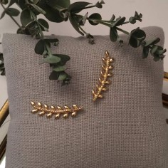 Boucles d'oreilles feuilles de laurier plaqué or
