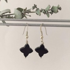 Onyx flowers earrings silver 925