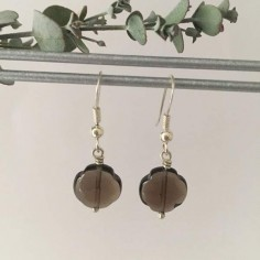 Smoky quartz crosses earrings silver 925