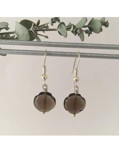Grey agate crosses earrings silver 925