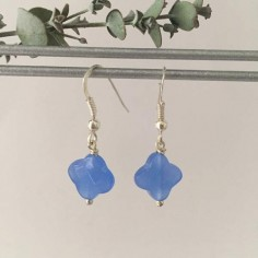 Blue agate crosses earrings silver 925