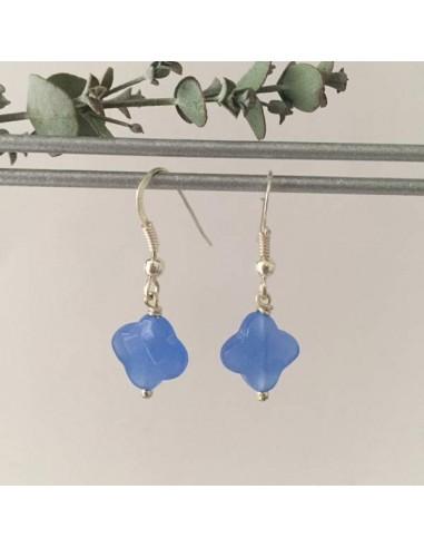 Boucles d'oreilles argent croix agate bleue