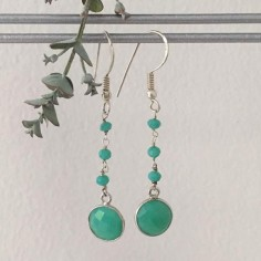 Green calcedony stones earrings silver 925