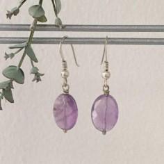 Oval amethyst stones earrings silver 925