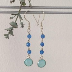 Blue jade stones earrings silver 925