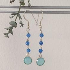 Blue jade stones earrings silver 925