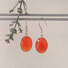 Big oval orange jade earrings silver 925