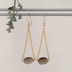 Boucles d'oreilles chaine plaqué or quartz fumé ovales facetées
