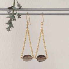 Oval faceted smoky quartz earrings gold plated chain