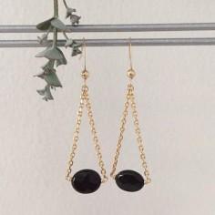 Boucles d'oreilles chaine plaqué or onyx ovales facetées