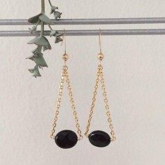Oval faceted onyx earrings gold plated chain