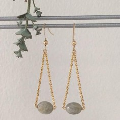 Oval faceted labradorite earrings gold plated chain