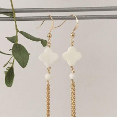 Flat white agate cross earrings gold plated pompom