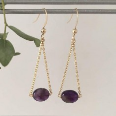 Oval faceted amethyst earrings gold plated chain