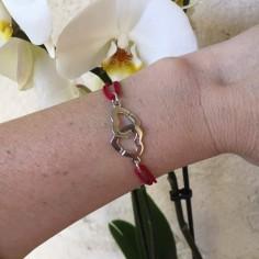 Bracelet cordon Menottes coeurs argent