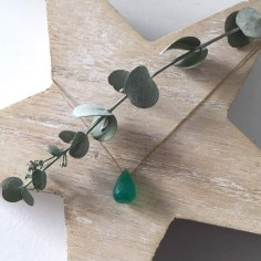 Faceted green onyx drop cord necklace