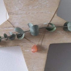 Faceted salmon moonstone drop cord necklace