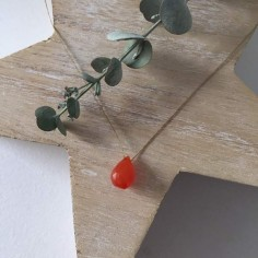 Faceted carnelian drop cord necklace