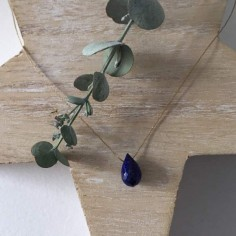 Faceted lapis lazuli drop cord necklace