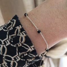Chain bracelet silver 925 five small blue stones