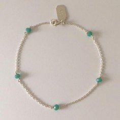 Chain bracelet silver 925 five small turquoise stones