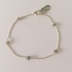 Chain bracelet silver 925 five small black stones
