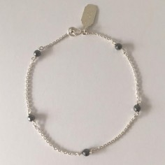 Chain bracelet silver 925 five small grey stones